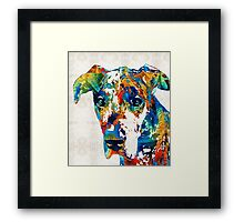 Colorful Great Dane Art Dog By Sharon Cummings Framed Print