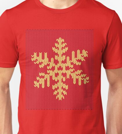 Knitted Yellow Snowflake Unisex T-Shirt