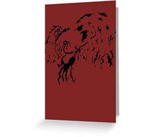 Tribal Phoenix - Black Greeting Card