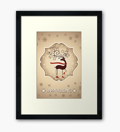 Elegant Reindeer Christmas Card - Happy Holidays Framed Print
