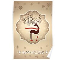 Elegant Reindeer Christmas Card - Happy Holidays Poster