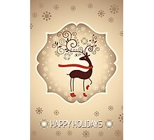 Elegant Reindeer Christmas Card - Happy Holidays Photographic Print