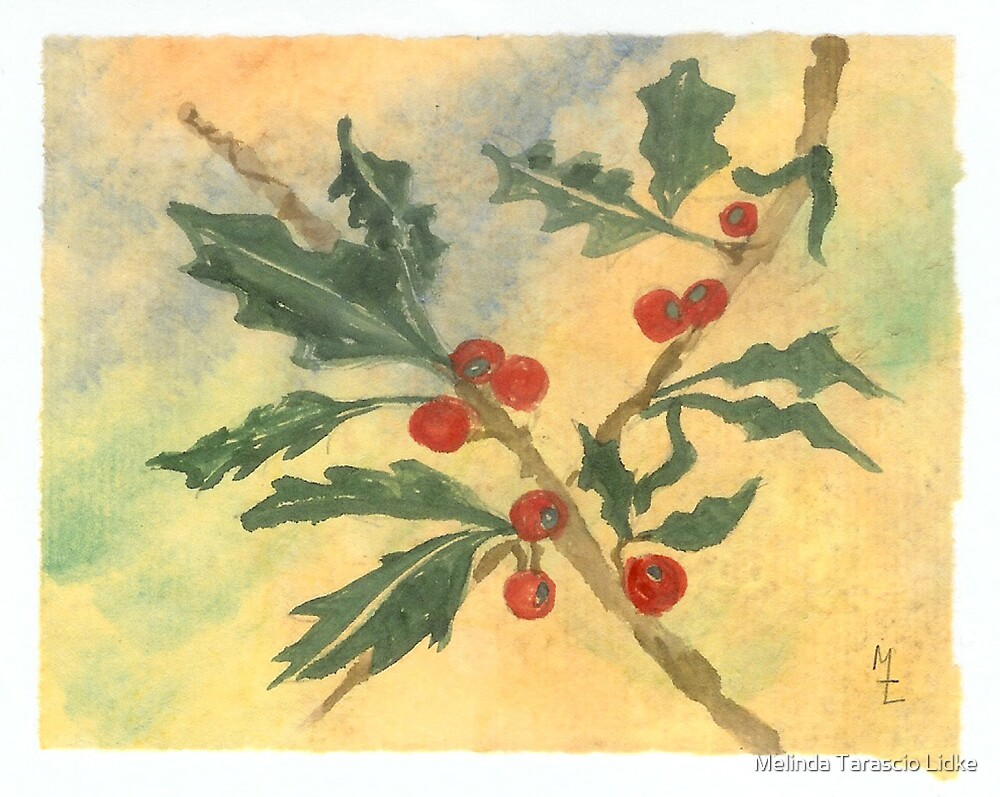 Christmas Holly Watercolor 15c by Melinda Tarascio Lidke