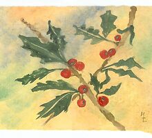 Christmas Holly Watercolor 15c by Melinda Tarascio Lidke