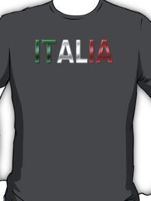Italia - Italian Flag - Metallic Text T-Shirt