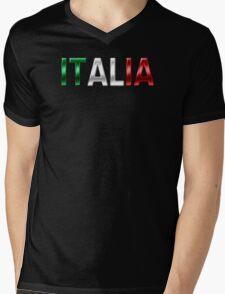 Italia - Italian Flag - Metallic Text Mens V-Neck T-Shirt