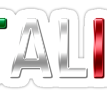Italia - Italian Flag - Metallic Text Sticker