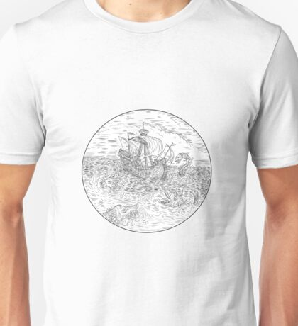 Tall Ship Turbulent Sea Serpents Black and White Drawing Unisex T-Shirt