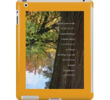 Serenity Prayer Tree and Pond Autumn 2 iPad Case/Skin