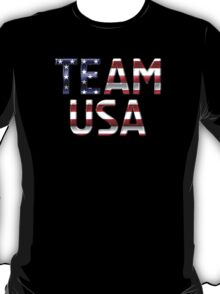 Team USA - American Flag - Metallic Text T-Shirt