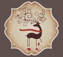 Elegant Reindeer Christmas Card - Happy Holidays One Piece - Short Sleeve