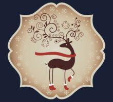 Elegant Reindeer Christmas Card - Happy Holidays One Piece - Long Sleeve