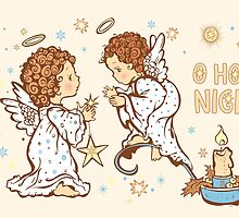 Cute Angels Christmas Card - O Holy Night by solnoirstudios
