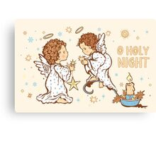 Cute Angels Christmas Card - O Holy Night Canvas Print