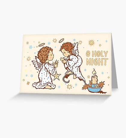 Cute Angels Christmas Card - O Holy Night Greeting Card
