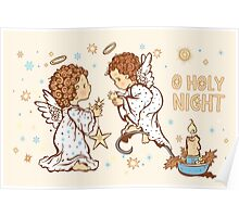 Cute Angels Christmas Card - O Holy Night Poster