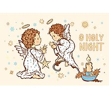 Cute Angels Christmas Card - O Holy Night Photographic Print