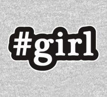 Girl - Hashtag - Black & White One Piece - Long Sleeve