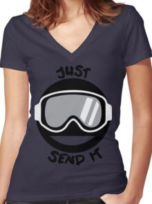 JUST SEND IT Women's Fitted V-Neck T-Shirt