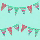 Fun little bunting, Spring watercolour pattern in red, pink and green on a mint green background by Sandra O'Connor