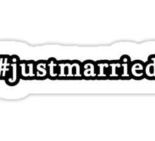 Just Married - Hashtag - Black & White Sticker