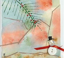Snowman and Palm Trees Watercolor Collage 25c by Melinda Tarascio Lidke
