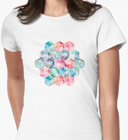 Translucent Watercolor Hexagon Cubes Womens Fitted T-Shirt