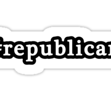 Republican - Hashtag - Black & White Sticker