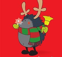 Rudolph the Red Nosed Hedgehog wishes You a Merry Christmas! by mangulica