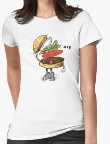 Burger Greeting Womens Fitted T-Shirt