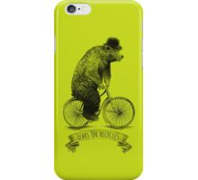 Bears on Bicycles (lime option) iPhone Case/Skin
