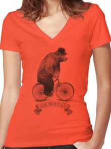 Bears on Bicycles (lime option) Women's Fitted V-Neck T-Shirt