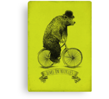 Bears on Bicycles (lime option) Canvas Print