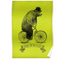 Bears on Bicycles (lime option) Poster