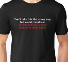 Wrong Way - White/Red Unisex T-Shirt
