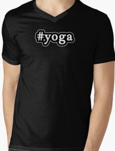 Yoga - Hashtag - Black & White Mens V-Neck T-Shirt