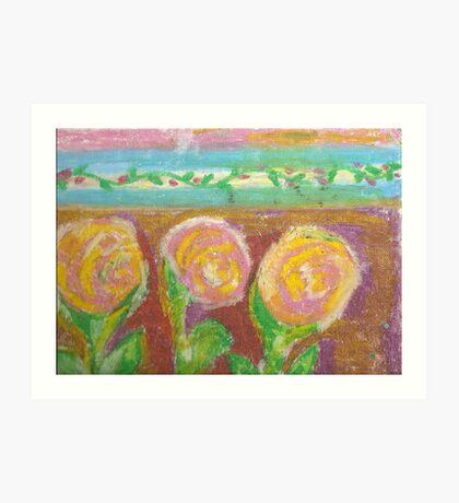 three pink and yellow roses  Art Print
