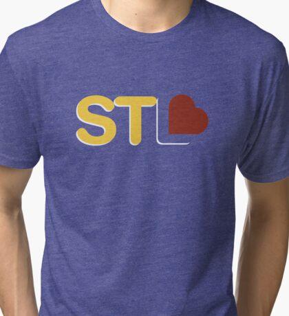 St. Louis Love - Yellow/Red Tri-blend T-Shirt