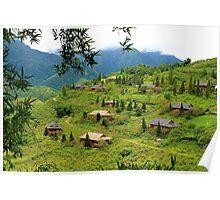 Houses on the Hill - Sa Pa, Vietnam. Poster