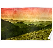 Landscape with mountains Poster