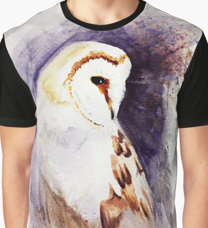 Barn Owl Watercolor Graphic T-Shirt