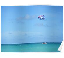 Miami parasailing on the ocean Poster