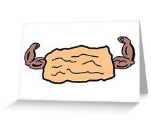 Muscular Biscuit Cartoon Logo Greeting Card