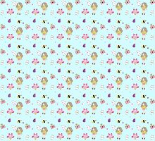 Bee and puppycat pattern by Kami Karras