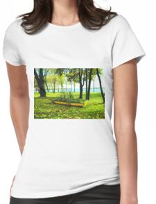 Colorful green fall trees, forest, boat, canoe, lake Womens Fitted T-Shirt