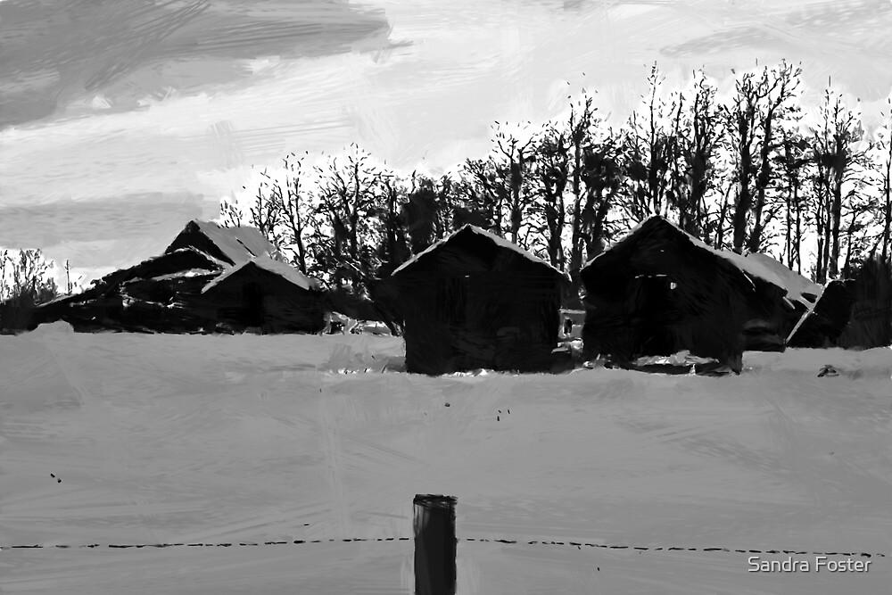 Little Shacks In The Winter - Digital Oil by Sandra Foster