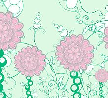 Green garden with pink flowers by Sarah Gee