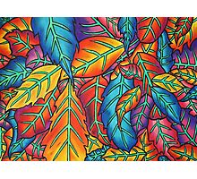 Leaf Pile - Oil Pastels on Watercolor Paper  Photographic Print