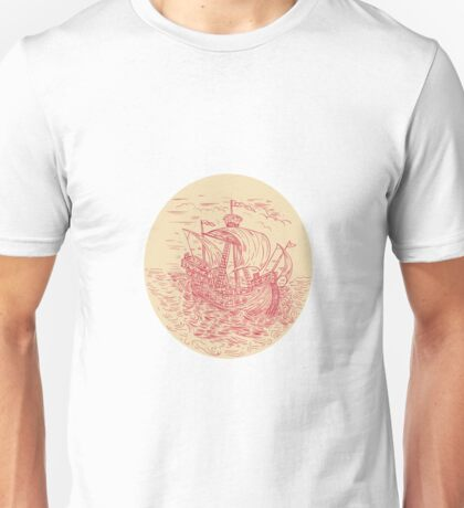 Tall Ship Sailing Stormy Sea Oval Drawing Unisex T-Shirt