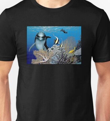 BOTTLE NOSED DOLPHIN: In A Coral Reef Print Unisex T-Shirt
